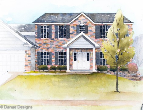 Danae Designs Watercolor Home Portrait Architectural Rendering Katherine