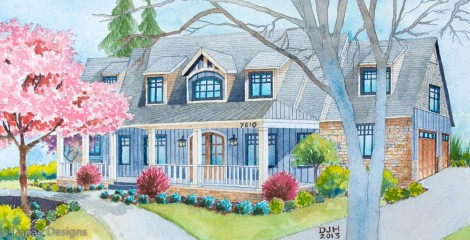 Danae Designs Watercolor Home Portrait Byron Center Michigan1
