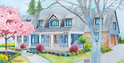 Danae Designs Watercolor Home Portrait Byron Center Michigan1