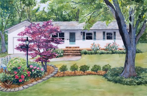Danae Designs Watercolor Home Portrait Carterville 2014