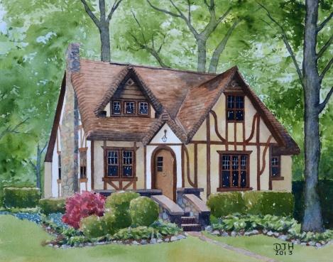 Danae Designs Watercolor Home Portrait Detroit