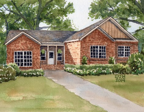 Danae Designs Watercolor Home Portrait Home and Garden Show 2014