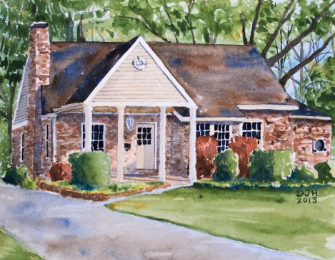 Danae Designs Watercolor Home Portrait Kirkwood Home