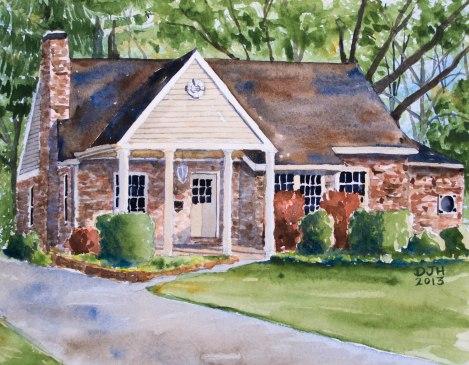 Danae Designs Watercolor Home Portrait Kirkwood Home