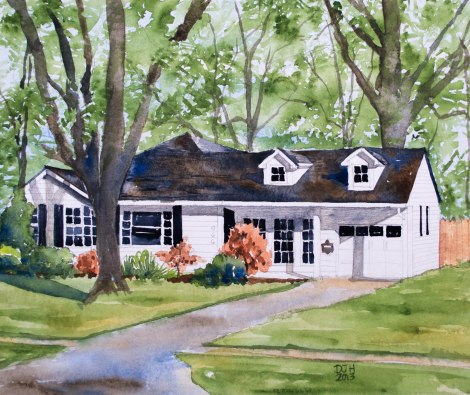 Danae Designs Watercolor Home Portrait Kirkwood House