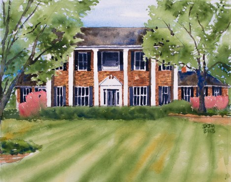 Danae Designs Watercolor Home Portrait Town and Country