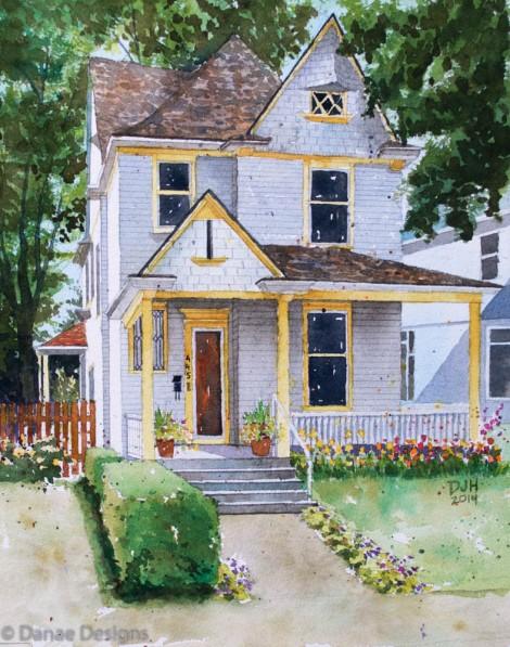Danae Designs Watercolor Home Portriat Union Street 2014