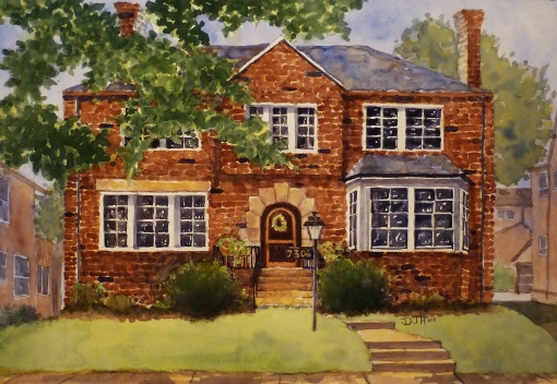 Danae Designs Rendering Home Portraits - University City, Missouri - watercolor 2011