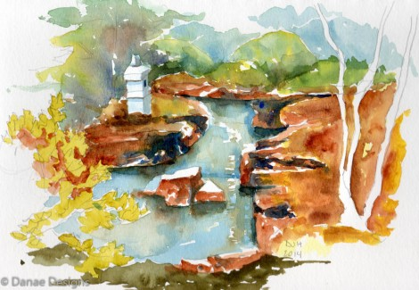 Danae Designs 2 Plein Air Botanical Gardens Saint Louis Watercolor 2014