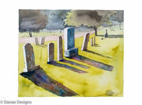 Danae Designs Plein Air Louisiana Missouri Historical Cemetery 2015 Watercolor Dynamic Shadows