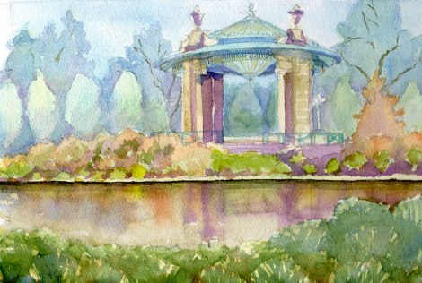 Danae Designs Plein Air Muny Bandstand Forest Park Watercolor