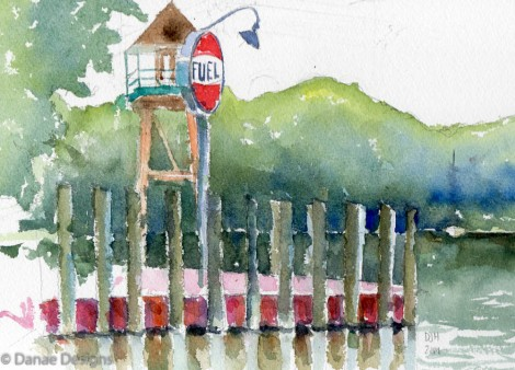 Danae Designs Plein Air Pentwater Michigan Watercolor 2014