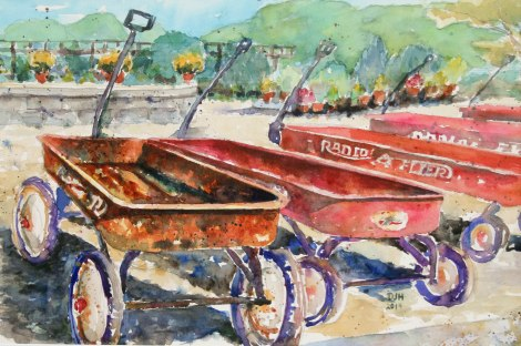 Danae Designs Plein Air Stark Nursery Louisiana Missouri Watercolor Radio Flyer