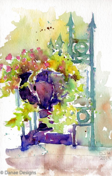 Danae Designs Plein Air Tower Grove Park Saint Louis Watercolor Flowers in Purple Vase