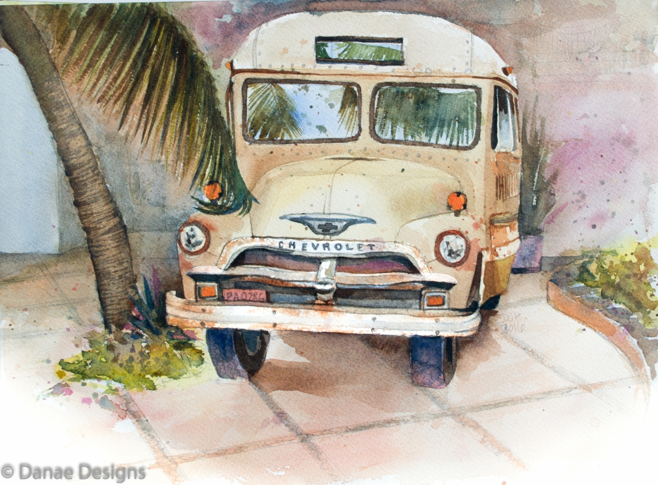 danae-designs-plein-air-watercolor-cozumel-mexico-vintage-truck