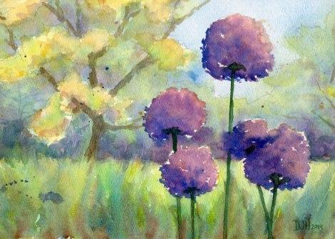 Danae Designs Plein Air Watercolor Forest Park Allium