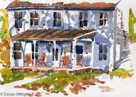 Danae Designs Plein Air Watercolor Queeny Park Rangers House