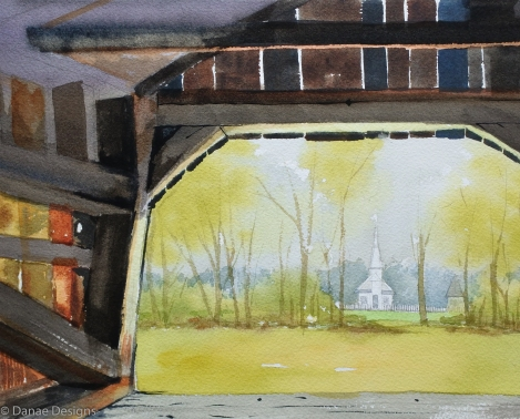 Danae Designs Watercolor Plein Air Daniel Boone Defiance Missiouri Old Peace Chapel Augusta Plein Air Festival