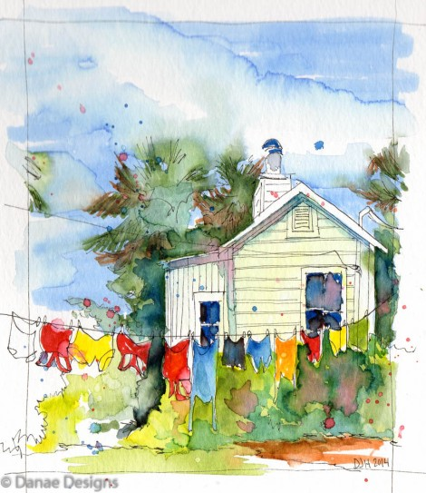 Danae Designs Watercolor Plein Air Green Cottage Clothes on the Line