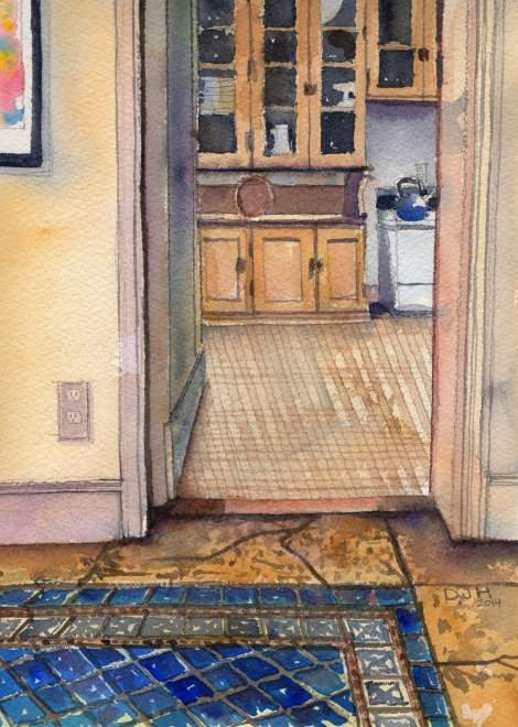 Danae Designs Watercolor Saint Louis Artist Guild Plein Air Oak Knoll Kitchen