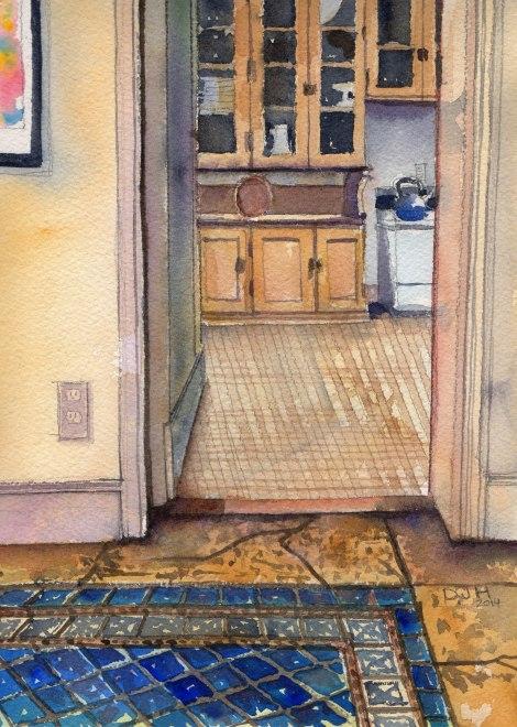 Danae Designs Watercolor Saint Louis Artist Guild Plein Air Oak Knoll Kitchen