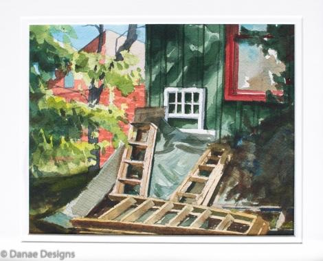 Danae Designs Watercolor Plein Air Pile of Ladders Augusta Plein Air Art Festival
