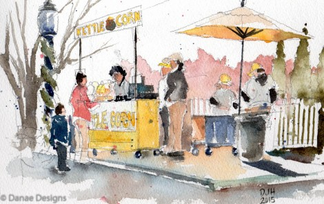 Danae Designs Watercolor Plein Air Saint Louis Zoo Kettle Popcorn
