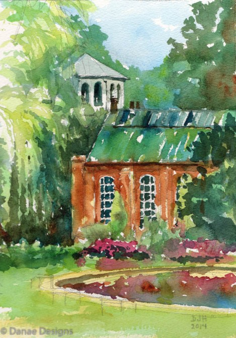 Danae Designs Plein Air Tower Grove Park Watercolor 2014
