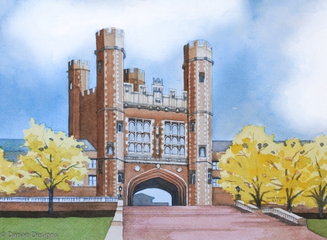 Danae Designs Washington University Brookings Hall Watercolor Architectural Renderings 2017