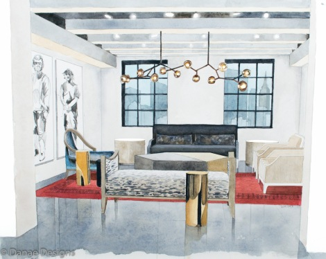 Danae Designs Watercolor Hand Rendering Reagan Hayes Room New York Showroom New York City