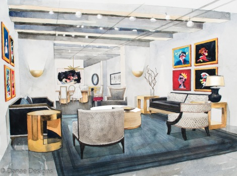 Danae Designs Watercolor Hand Rendering Reagan Hayes Room New York Showroom