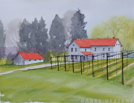 Danae Designs LLC Watercolor Plein Air Painting Chandler Hill Winery Defiance Missouri