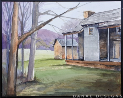 Danae Designs LLC Watercolor Plein Air Painting Daniel Boone Home Defiance Missouri Augusta Plein Air Festival 2018