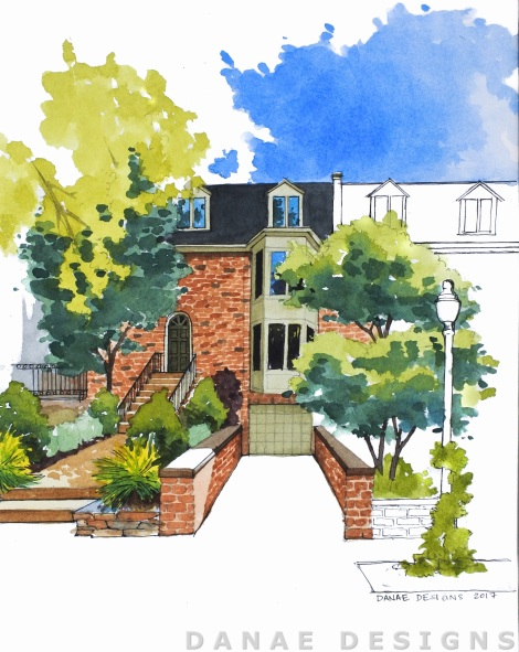 Danae Designs Watercolor Home Portrait Central West End Saint Louis Missouri