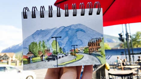 Danae Designs Watercolor Plein Air 2017 Banff Canada Canmore Painting Cafe Downtown