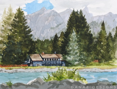 Danae Designs Watercolor Plein Air 2017 Banff Canada Canmore Painting House.jpg