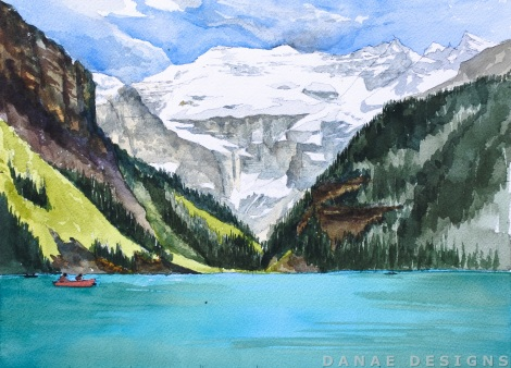 Danae Designs Watercolor Plein Air 2017 Banff Canada Canmore Painting Lake Louise