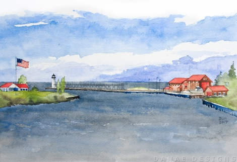 Danae Designs Watercolor Plein Air Painting Manistee First Street Harbor Lake Michigan.jpg