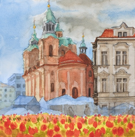 Danae Designs LLC Plein Air Europe Old Town Square Prague Watercolor Tulips