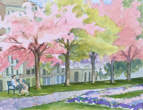 Danae Designs LLC Watercolor Plein Air Europe Cherry Blossom in Prague
