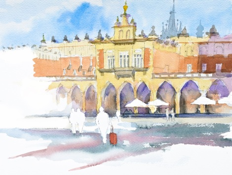 Danae Designs LLC Watercolor Plein Air Europe Cloth Krakow Poland