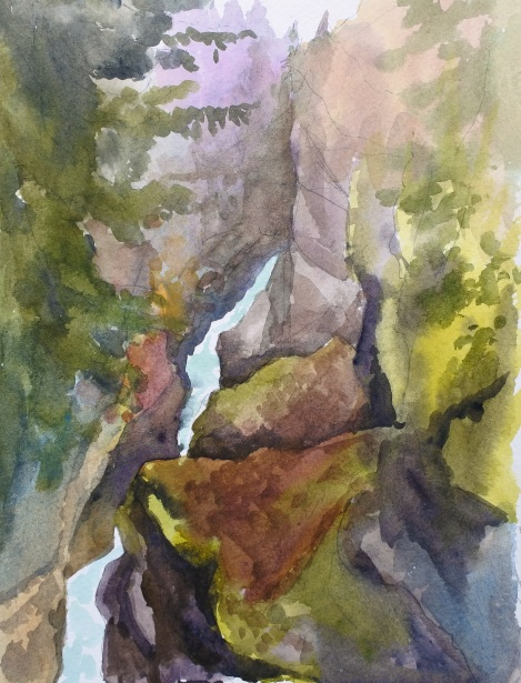 Danae Designs LLC Watercolor Plein Air Europe Garmisch Germany Gorge