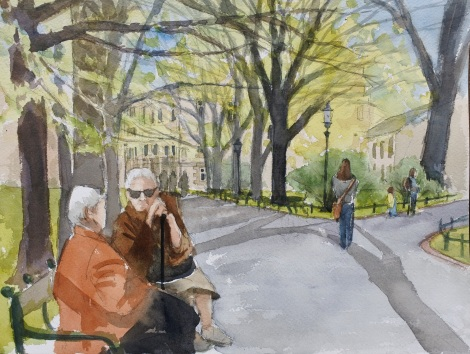 Danae Designs LLC Watercolor Plein Air Europe Krakow Poland Old women