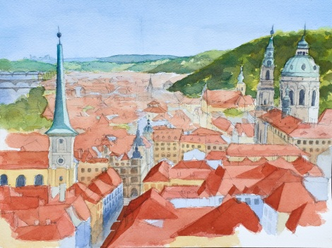 Danae Designs LLC Watercolor Plein Air Europe Prague rooftops aireal